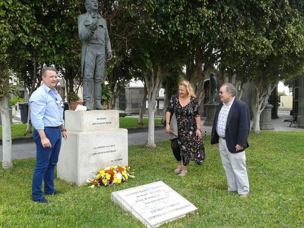 Con los hijos de Kraus: ofrenda en su tumba